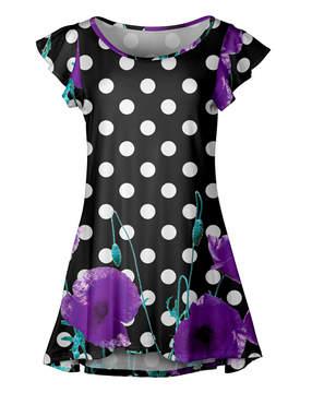 Lily Black & Purple Floral Dot Ruffle-Sleeve Tunic - Women & Plus