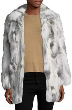 Adrienne Landau Women's Fur Spread Collar Coat