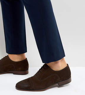 Asos Wide Fit Brogue Shoes In Brown Suede With Natural Sole