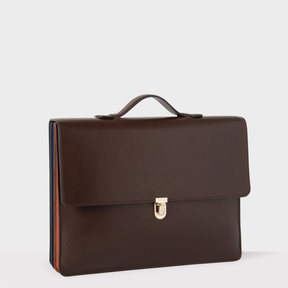 Paul Smith Men's Chocolate Brown 'Concertina' Leather Briefcase
