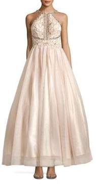 Betsy & Adam Long Embellished Tulle Ball Gown