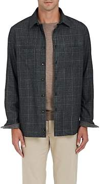 Luciano Barbera Men's Checked Wool-Blend Twill Shirt