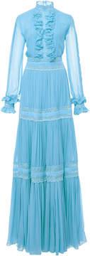 Silk Chiffon Mock Neck Long Dress in blue