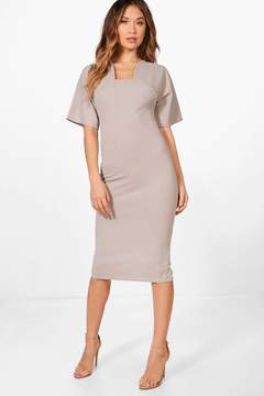 boohoo Formal Curved Neck Fitted Midi Dress