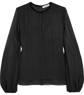 Elizabeth and James Dante Velvet-trimmed Pintucked Silk-chiffon Blouse - Black