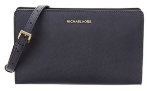 MICHAEL Michael Kors Jet Set Large Leather Crossbody Clutch. - NAVY - STYLE