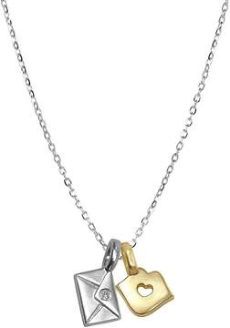 Alex Woo Women's Silver and Diamond Mini Pendant Necklace