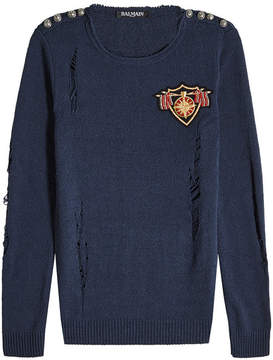 Balmain Silk Pullover with Embossed Buttons