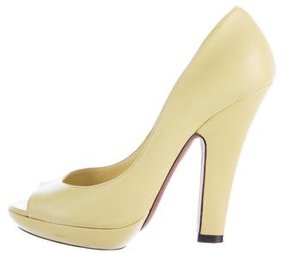 Nina Ricci Leather Peep-Toe Pumps