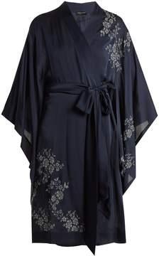 Carine Gilson Lace-appliqué short silk-satin kimono