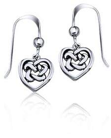 Celtic Bling Jewelry Knot Open Heart Sterling Silver Drop Earrings.