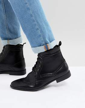 Asos Brogue Boots In Black Faux Leather