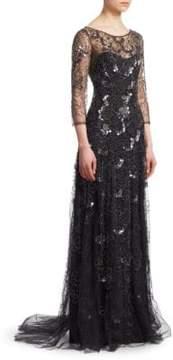 Black Floral-Embellished Gown