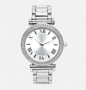 Avenue Rhinestone Dial Metal Link Watch