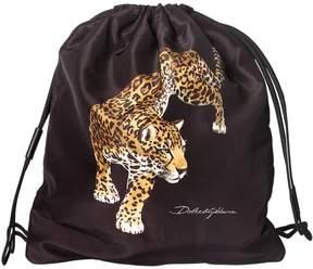 Dolce & Gabbana Leopard Print Nylon Drawstring Backpack