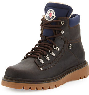 Moncler Egide Shearling-Lined Hiking Boot, Gray