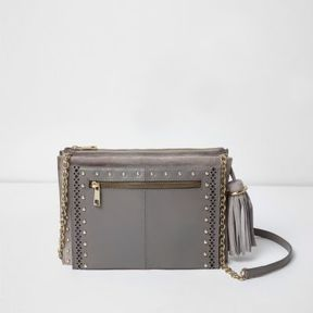 River Island Womens Grey leather studded cross body chain bag