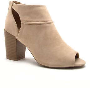 Qupid Beige Cutout Clyde Bootie - Women