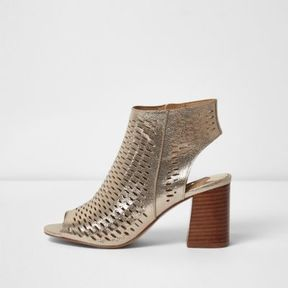 River Island Womens Gold metallic laser cut block heel sandals