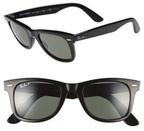 Ray-Ban Men's 'Classic Wayfarer' 50Mm Polarized Sunglasses - Black/ Green P