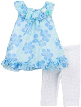 Little Me Blue Floral Chiffon Tunic & Leggings Set (Baby Girls)