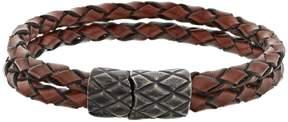 Lynx Men's Double Strand Brown Leather Bracelet