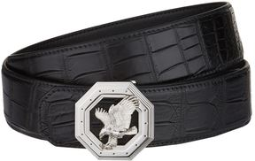 Stefano Ricci Flying Eagle Octagon Buckle Croc Belt