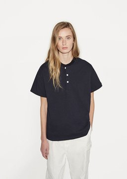 Chimala Unisex Band Collar Tee Navy Size: Small