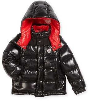 Moncler Andersen Quilted Coat w/ Contrast Lining, Size 4-6