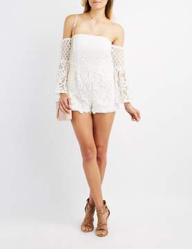 Charlotte Russe Lace Off-The-Shoulder Bell Sleeve Romper