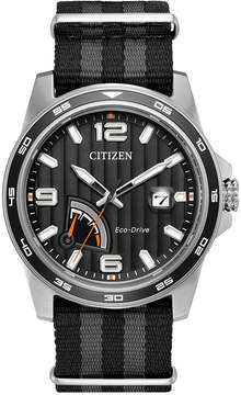 Citizen Men's Eco-Drive Sport Black and Gray Nylon Nato Strap Watch 41mm AW7030-06E
