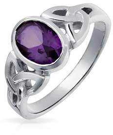 Celtic Bling Jewelry Open Triquetra Amethyst Sterling Silver Ring.