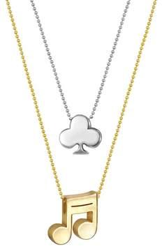 Alex Woo 14K Gold & Sterling Silver Little Vegas Clover & Note Necklace - Set of 2