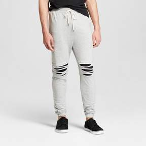 Jackson Men's Destructed Rip & Repair Knit Jogger Pants Heather Gray