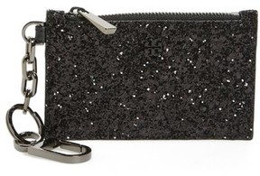Tory Burch Robinson Glitter Card Case With Key Chain - Black - BLACK - STYLE