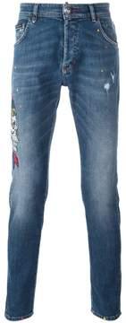 Philipp Plein 'Twisted Bear' straight-leg jeans