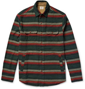 Faherty Suede Elbow-Patch Striped Cotton-Flannel Shirt