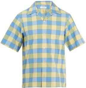 Prada Point-collar checked cotton bowling shirt