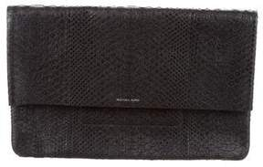 Michael Kors Python Fold-Over Clutch - BLACK - STYLE