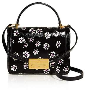 Tory Burch Juliette Printed Mini Patent Leather Crossbody - BLACK FLORAL STAMP/GOLD - STYLE