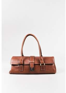 Lambertson Truex Pre-owned Cognac Brown Leather Rectangular Baguette Shoulder Bag.