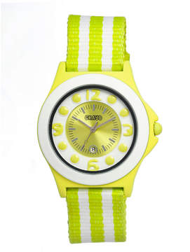 Crayo Womens Carnival Lime & White Nylon-Strap Watch With Date Cracr0706