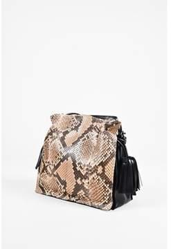 Loewe Pre-owned Beige Brown Python Leather Flamenco Tassel Drawstring Bag.