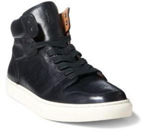 Ralph Lauren Jory Calfskin High-Top Sneaker Black 10.5