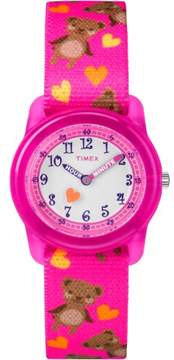 Timex Girls' Time Machines Pink Bears Watch, Elastic Fabric Strap