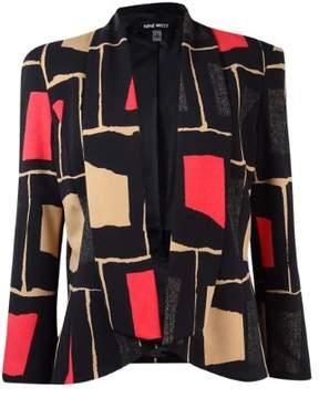 Nine West Women's Geo-Print Draped Blazer (6, Poppy Multi)