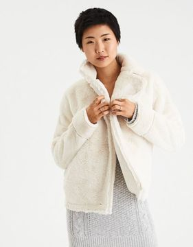 American Eagle Outfitters AE Ahh-Mazingly Soft Faux-Sherpa Moto Jacket