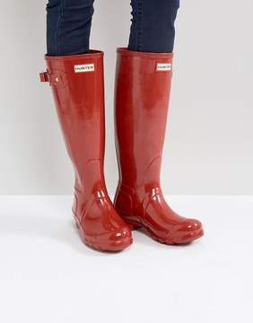 Hunter Tall Military Red Gloss Wellington Boots
