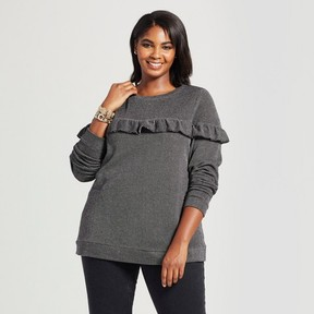 Ava & Viv Women's Plus Size Textured Pullover with Ruffle Dark Gray