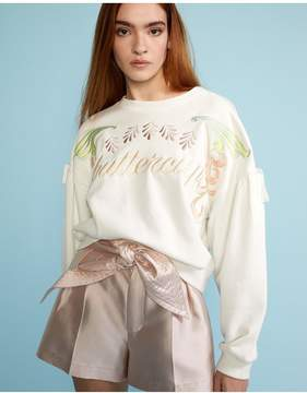 Cynthia Rowley | White Bedford Embroidered Sweatshirt | L | White